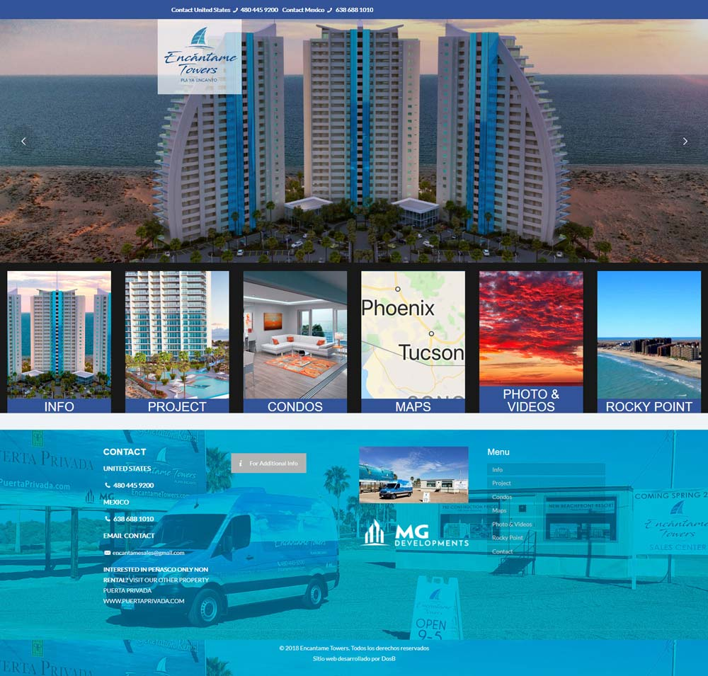 Encantame Towers Real Estate Project in Puerto Penasco (Rocky Point Mexico). Click here to visit Their website.