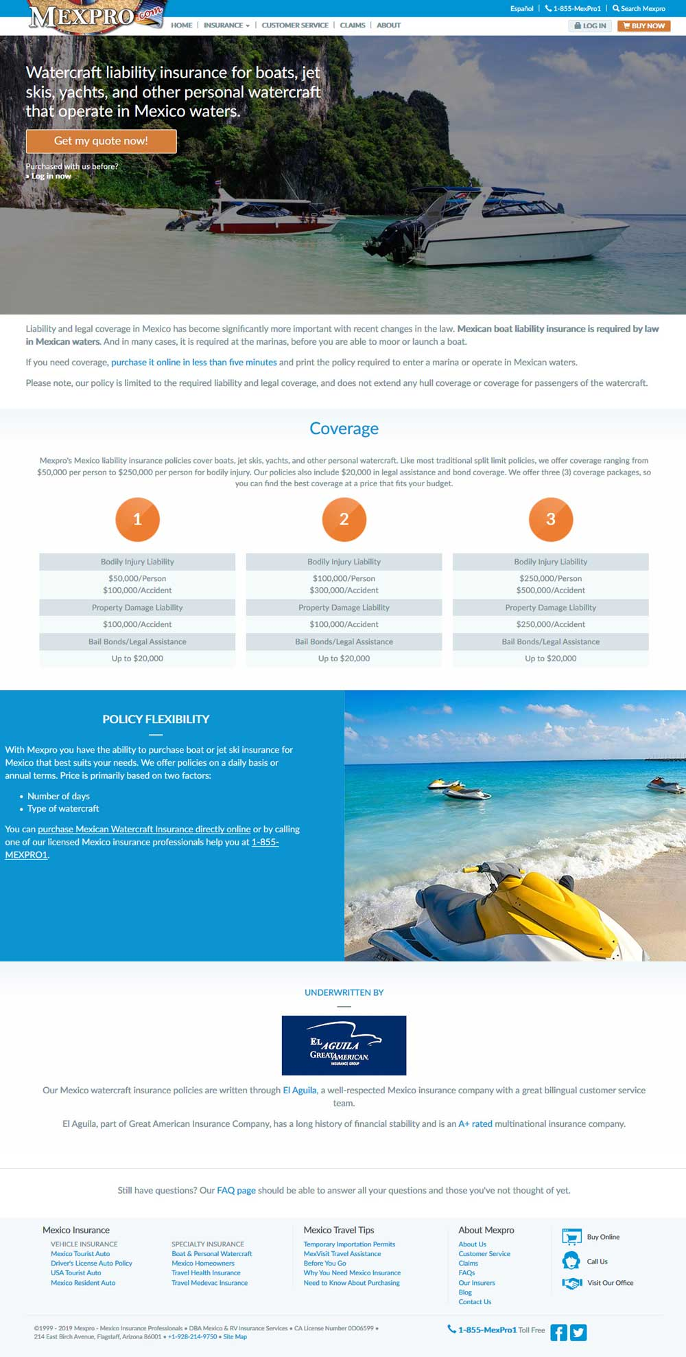 Mexican Insurance for watercraft in Puerto Penasco (Rocky Point Mexico). Click here to visit MexPro's watercraft web page.