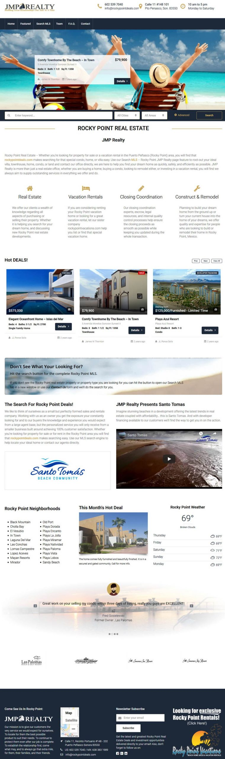 Website for JMP realty in Puerto Penasco (Rocky Point Mexico).
